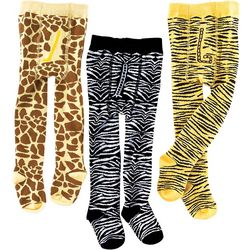 Organic Cotton Animal-Print Tights with Non-Skid Soles