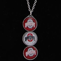 Ohio State Buckeyes Three Drop Glitter Necklace