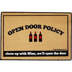 Open Door Wine Policy Doormat