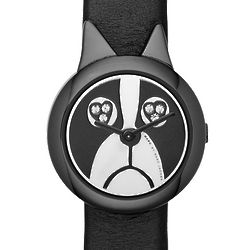 Black Shorty Dog Leather Strap Women's Watch