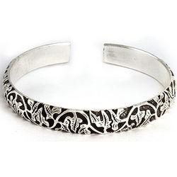 Intricate Vine Design Bali Cuff Bracelet