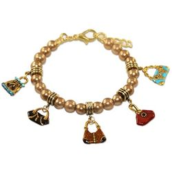 Purse Lover Charm Bracelet in Gold