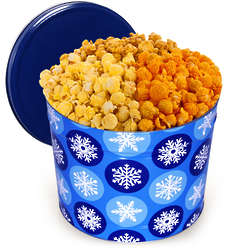 2 Gallons of Traditional Mix Popcorn in Winter Wonderland Tin