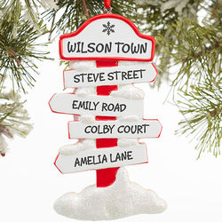 Personalized North Pole Family Sign Christmas Ornament
