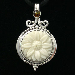 Ornate Sunflower Pendant with Amber