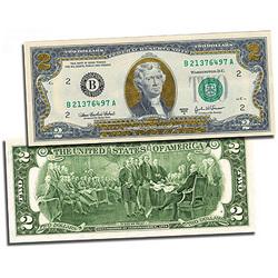 Gold Leaf Two Dollar Bill