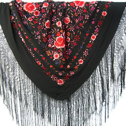 Negro Rojiz Traditional Hand Embroidered Spanish Silk Shawl