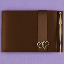 Linked Heart Guest Book and Pen Set in Brown