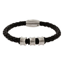 Nitro Stainless Steel Black Braided Leather Men's Bracelet