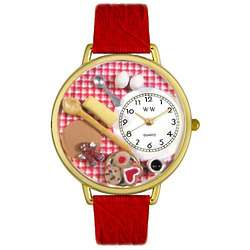 Baking Themed Watch with Red Leather Band