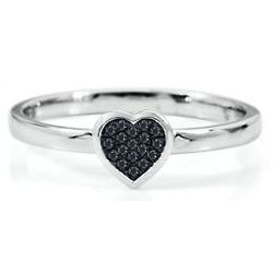 Sterling Silver Round Black Diamond Heart Stack Ring