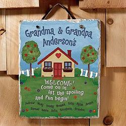 Personalized Grandkids Spoiled Here Slate