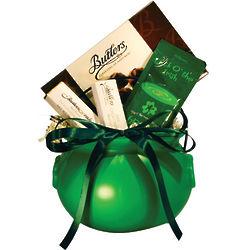 Irish Chocolate in a Green Pot of Gold Gift Basket