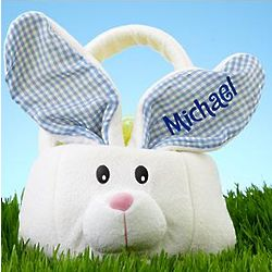 Personalized Blue Ear Bunny Plush Basket