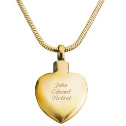 Memorial Gold Heart Urn Necklace