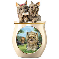 Yorkie Art Ceramic Cookie Jar with Sculpted Lid