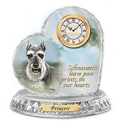 Linda Picken Personalized Schnauzer Crystal Clock