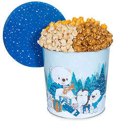 2 Gallons of People's Choice Popcorn in Let It Snow Holiday Tin