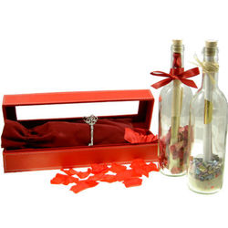 Engravable Forever Yours Message in a Bottle and Leather Case