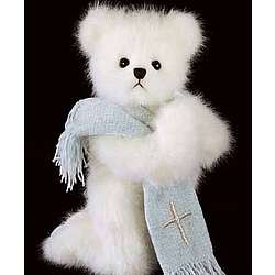 Praying Bear with Personalized Blue Scarf
