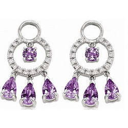 14K White Gold Amethyst 1/5 Ct Diamond Earring Charms