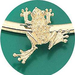 14k Yellow Gold Frog Omega Pendant Slide