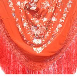 Hand Embroidered Floral Dark Shine Copper Silk Shawl