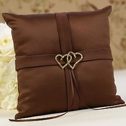 Linked Heart Ring Bearer Pillow in Brown