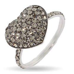 Sparkling Gray Swarovski Crystal Heart Ring