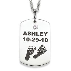 Sterling Silver Baby Feet Birthstone Name and Date Necklace