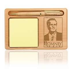 Mitt Romney Wooden Notepad and Pen Holder