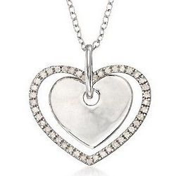 Sterling Silver Diamond Double Heart Pendant Necklace