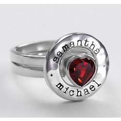 Garnet Heart Stacking Ring