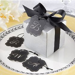 Silver Favor Box Kit with Laser Cut Monogram Tag