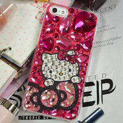 Hot Pink Jewels Hello Kitty Cell Phone Case