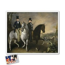 Classic Painting Horseback Riding in Street Personalized Print