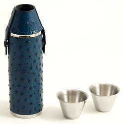Blue Ostrich Leather Flask with Shooter Cups