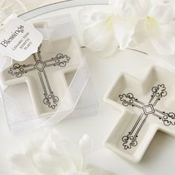 Decorative Ceramic Cross Trinket Dishes