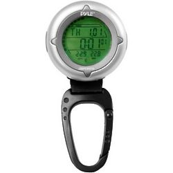 Black & Silver Carabiner Compass with Thermometer & Stop Watch