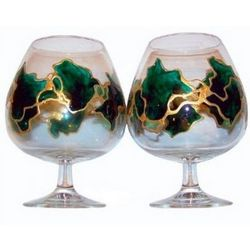 Green & Gold Brandy Snifters
