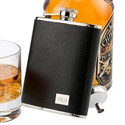 Premium Textured Leather Flask in Black