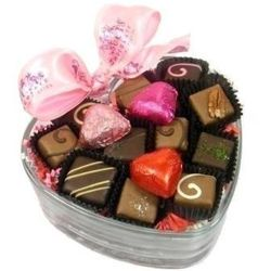 Valentine's Day Chocolates in a Heart Dish