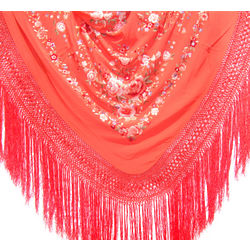 Hand Embroidered Spanish Flamenco Manton Shawl