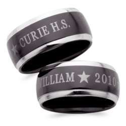 Men's Black Stainless Steel Two-Tone Class Ring