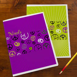 Personalized Peace Sign School Folders