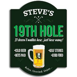 Nineteenth Hole Personalized Wooden Golf Sign
