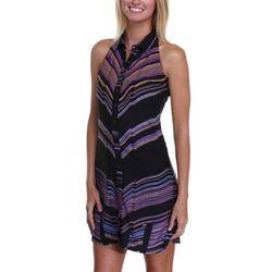 Junior's Static Stripe Avery Halter Dress