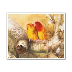 Summer Lovebirds Personalized Art Print