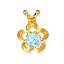 14K Gold Aquamarine Flower Children's Charm Pendant