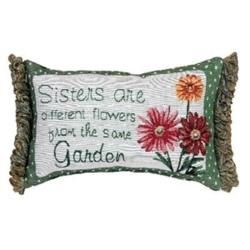 Sisters Different Flowers Word Pillow